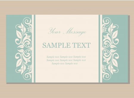 Floral vintage business card, invitation or announcement Illustration