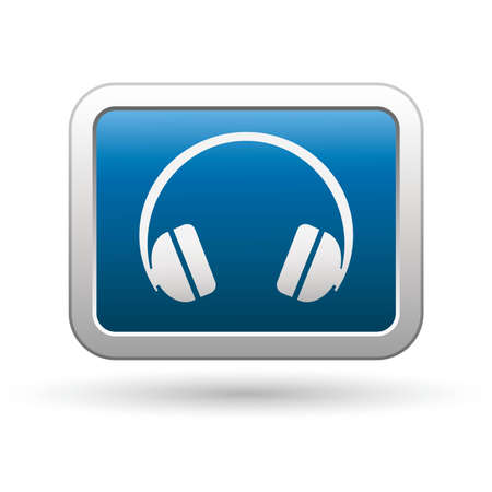 Headphones icon on the blue with silver rectangular button Stock Vector - 21317549