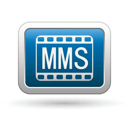 MMS icon on the blue with silver rectangular button Illustration