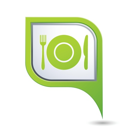 Green map pointer with restaurant icon Stock Vector - 21355217