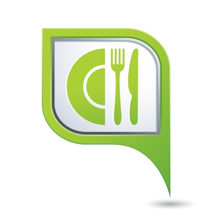 dinnerware: Green map pointer with restaurant icon