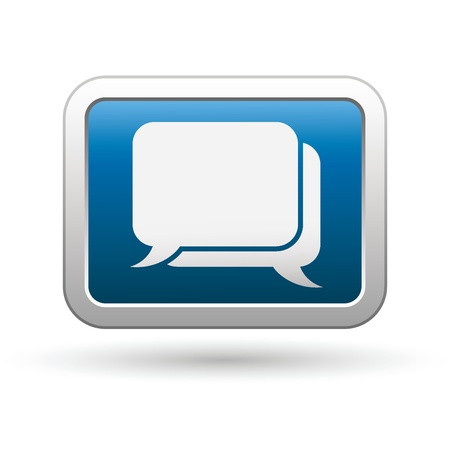 oft: Speech bubbles icon on the blue with silver rectangular button