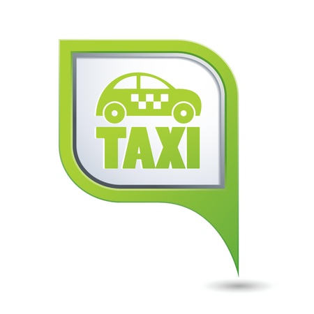 location: Green map pointer with taxi icon