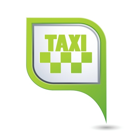 Green map pointer with taxi sign Stock Vector - 21355223
