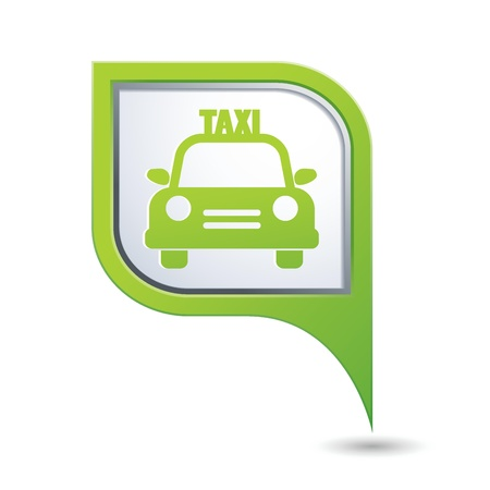 Green map pointer with taxi icon