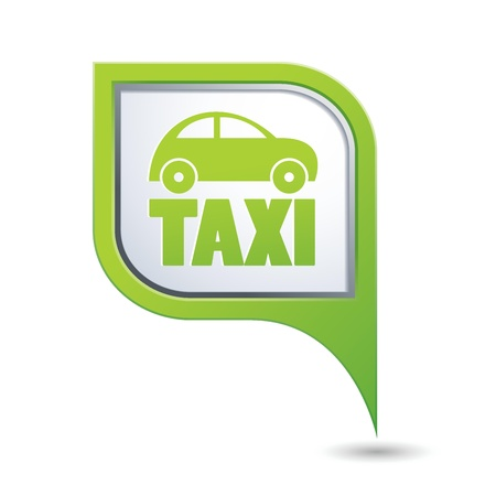 Green map pointer with taxi icon Vector
