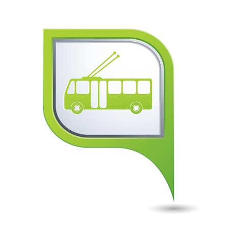 Green map pointer with trolleybus icon Vector