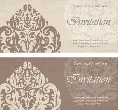 Vintage wedding invitations Vectores