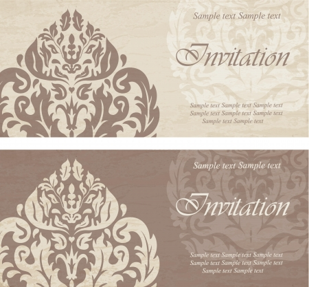 Vintage wedding invitations Vector