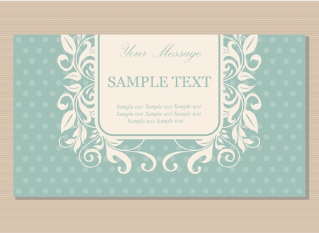 Beautiful floral vintage invitation, announcement or business card Vector