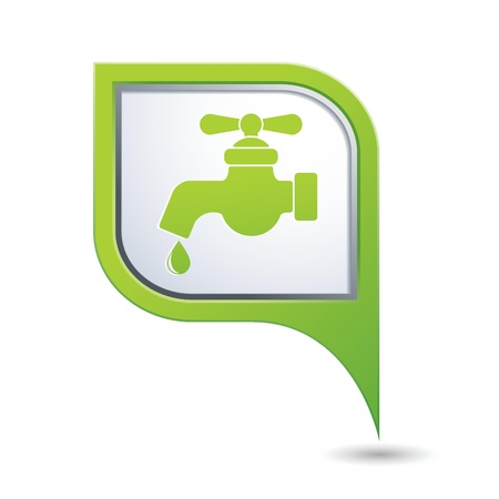 eco tourism: Green map pointer with water tap icon