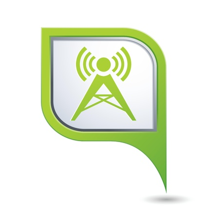 Green map pointer with wireless icon Vector
