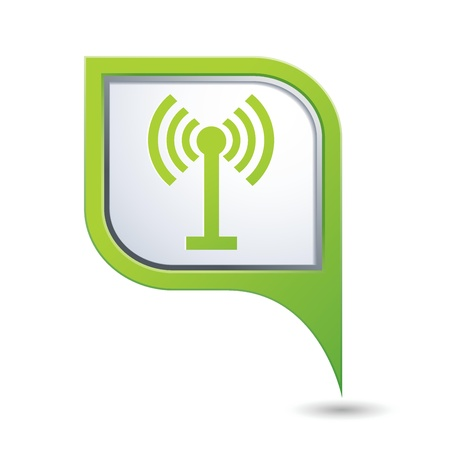 oftware: Green map pointer with wireless icon