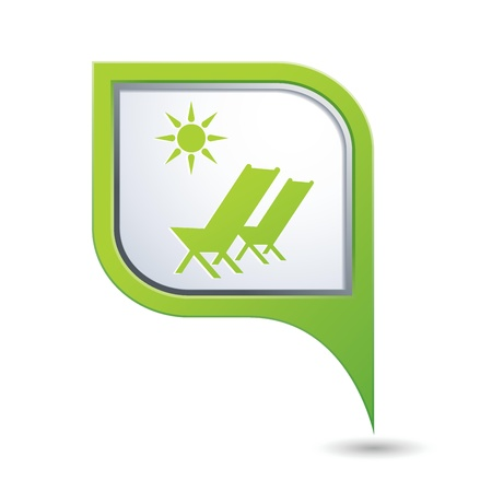 sea bed: Beach chair with sun symbol on green map pointer, vector illustration