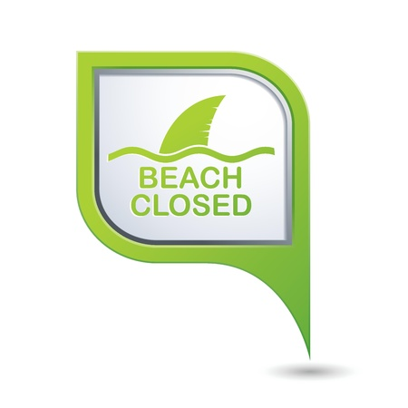 Beach Closed, shark sighting sign on green map pointer, vector illustration Vector