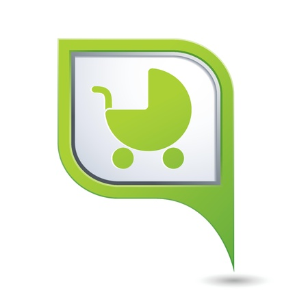 Green map pointer with baby carriage icon Vector