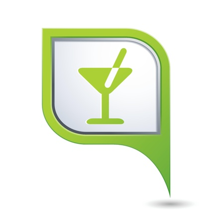 Green map pointer with cocktail icon Vector