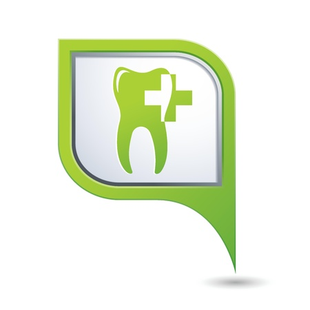 navigation aid: Dental clinic icon on green map pointer