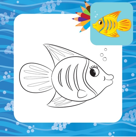 Cartoon fish  Coloring page  Vector illustration Stock Vector - 21587520