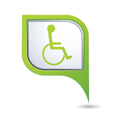 paralyze: Green map pointer with handicap icon  Vector illustration Illustration