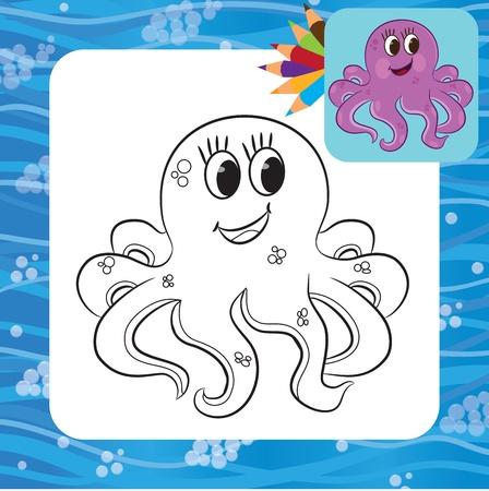 Cartoon octopus  Coloring page  Vector illustration Vector
