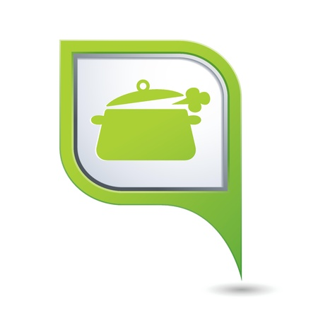 Green map pointer with dining room icon  Vector illustration Stock Vector - 21587529