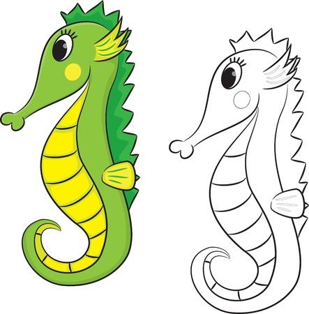 caballo de mar: Cartoon colorear caballito de mar ilustración vectorial página Vectores