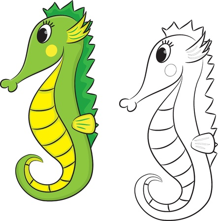 horse fish: Cartoon seahorse  Coloring page  Vector illustration