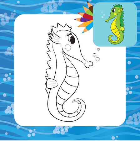 clip art draw: Cartoon seahorse  Coloring page  Vector illustration