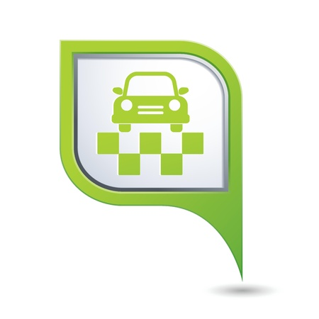 Green map pointer with taxi symbol  Vector illustration Stock Vector - 21587535