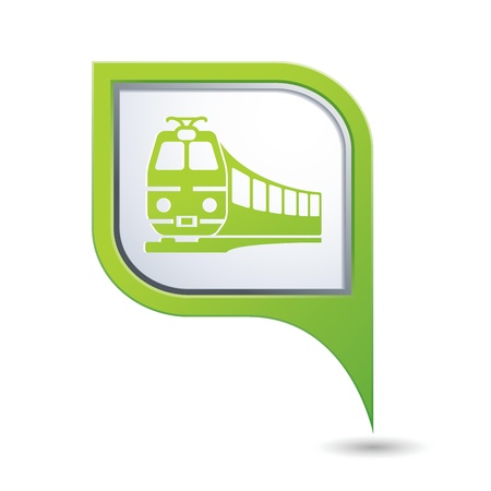 excursions: Green map pointer with train symbol  Vector illustration Illustration