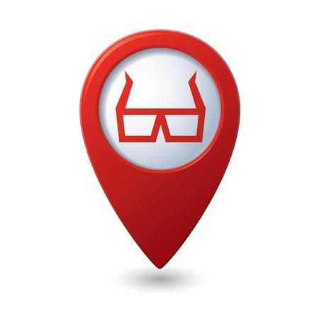cinematografico: Mapa puntero con gafas 3D icono ilustraci�n