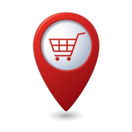 Kaartwijzer met winkelwagentje pictogram