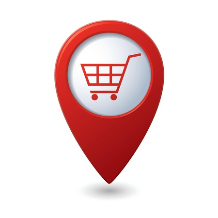 mall signs: Map pointer with shopping cart icon illustration