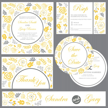 conjunto: Conjunto de tarjetas de invitación de la boda invitación, gracias cardar, tarjeta de RSVP, ahorran la fecha Vectores