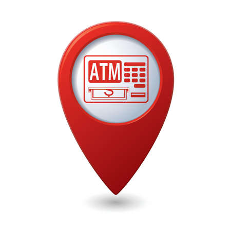 cashpoint: Map pointer with ATM cashpoint icon illustration