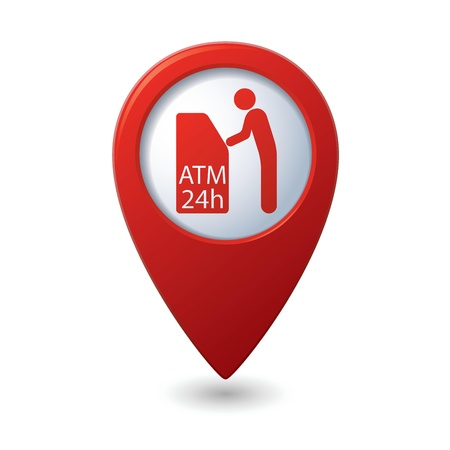 cash dispenser: Map pointer with ATM cashpoint icon illustration