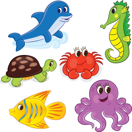 squid: Set of cartoon sea animals illustration