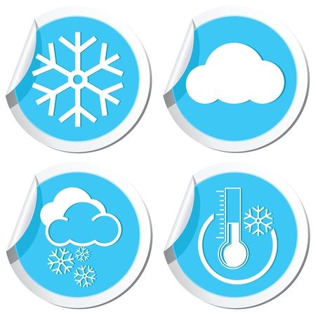 Weather forecast, winter icons set Vector