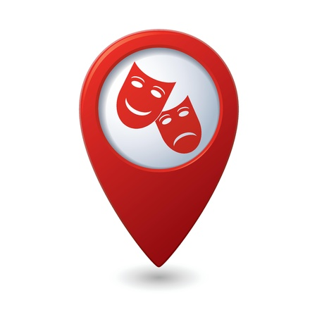 drama mask: Map pointer with theater icon illustration