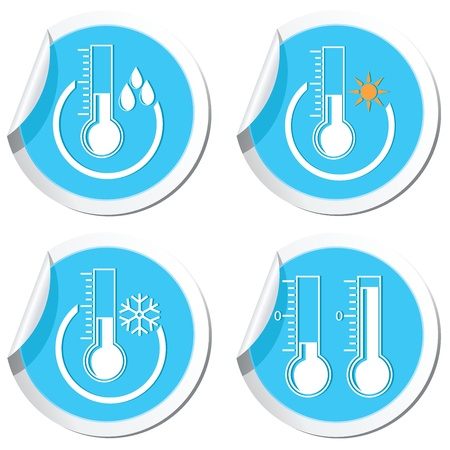 Weather forecast, thermometers icons set Vector