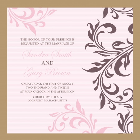 Beautiful vintage floral wedding invitation illustration Vector