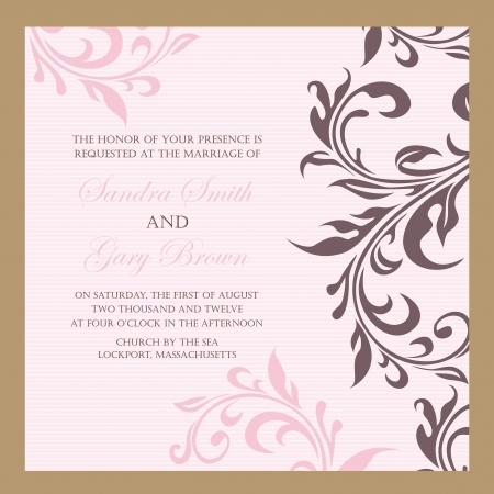 Beautiful vintage floral wedding invitation illustration Ilustração