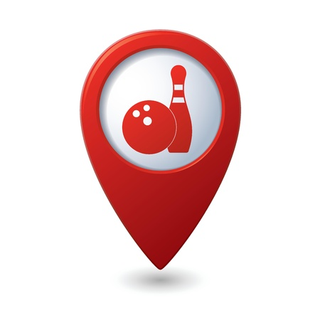 gutter: Map pointer with bowling icon  illustration Illustration