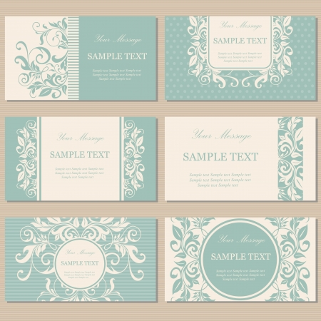 Set of six floral vintage business cards, invitations or announcements