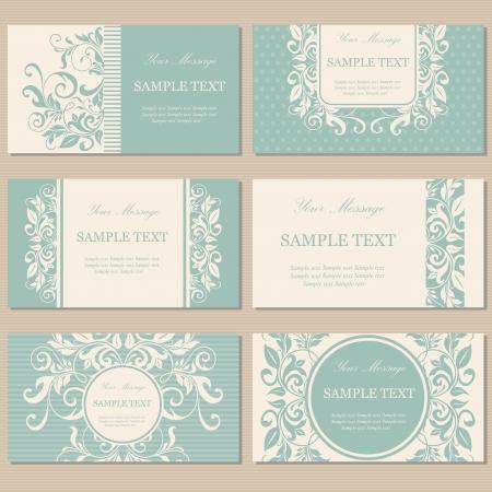 Set van zes floral vintage visitekaartjes, uitnodigingen of aankondigingen Stock Illustratie
