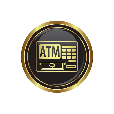cashpoint: ATM cashpoint icon on black with gold button illustration Illustration