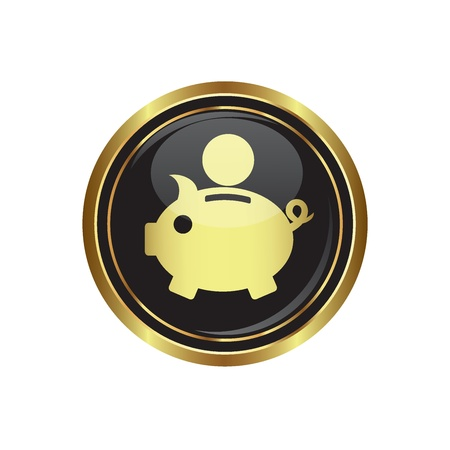 gold button: Piggy bank icon on black with gold button  illustration Illustration