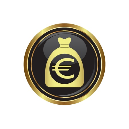 Money bag with euro sign on black with gold button  Vector illustration Stock Vector - 22166603