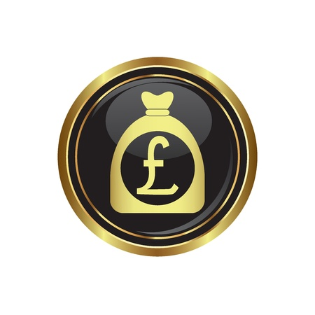 Money bag with pound sign on black with gold button   illustration Vector